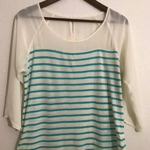 LC Lauren Conrad women's White and green  Blouse S